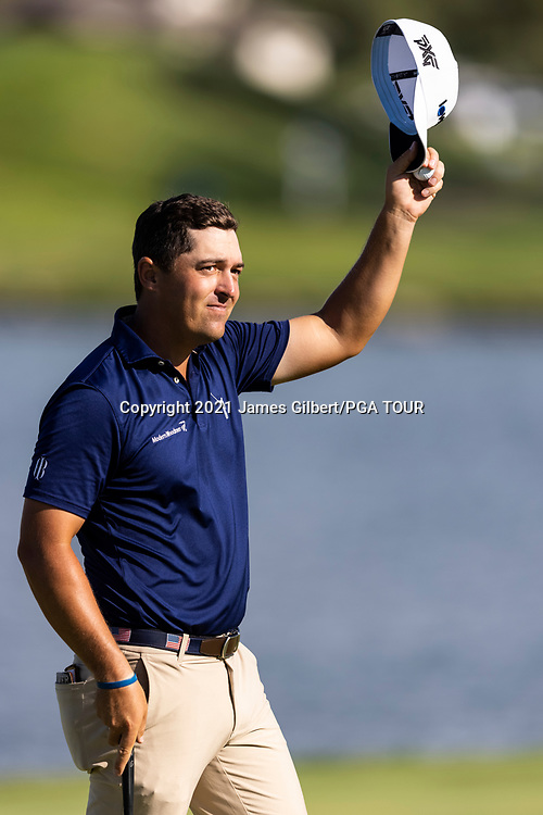 NEWBURGH, IN - SEPTEMBER 05: Justin Lower acknowledges the crowd after sinking his putt on the 18th green during the final round of the Korn Ferry Tour Championship presented by United Leasing and Financing at Victoria National Golf Club on September 5, 2021 in Newburgh, Indiana. (Photo by James Gilbert/PGA TOUR via Getty Images)