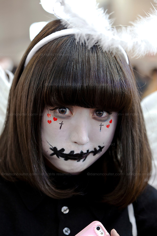 A young woman dressed in a costume to celebrate Halloween in Shibuya, Tokyo, Japan. Thursday, October 31st 2013