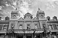 Black and white view of the ornate entrance to the Monte Carlo Casino, Monaco, France