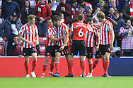 GOAL Josh Maja is congratulated after opening the scoring 1-0 during the EFL Sky Bet League 1 match between Sunderland and Rochdale at the Stadium Of Light, Sunderland, England on 22 September 2018.