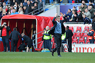 Cardiff city manger Ole Gunnar Solskjaer applauds the fans at the end of the match. Barclays Premier league, Cardiff city v Fulham at the Cardiff city Stadium in Cardiff , South Wales on Sat 8th March 2014. pic by Andrew Orchard, Andrew Orchard sports photography
