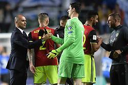 June 10, 2017 - Tallinn, Estonie - Roberto Martinez head coach of Belgian Team greets Thibaut Courtois goalkeeper of Belgium (Credit Image: © Panoramic via ZUMA Press)