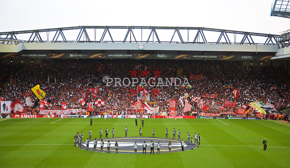 LIVERPOOL, ENGLAND - Thursday, May 5, 2016: Liverpool supporters on the Spion Kop before the UEFA Europa League Semi-Final 2nd Leg match against Villarreal CF at Anfield. (Pic by David Rawcliffe/Propaganda)