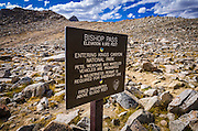 Bishop Pass trail entrance sign,  Kings Canyon National Park, California USA