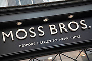 Sign for the high street clothing brand and suit hire company Moss Bross in Birmingham, United Kingdom.