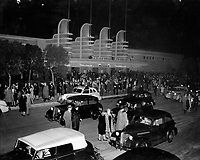 Patrons leaving The Pan-Pacific Auditorium