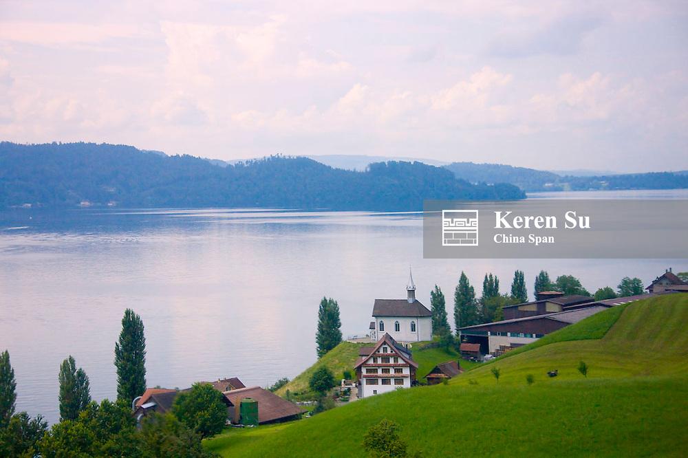Farmland and houses along Geneva Lake, Geneva area, Switzerland