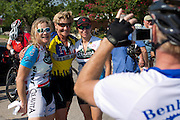 Fort Worth's mayor Betsy Price poses for a photo with Cindy Phillippi (left) and Timber Erickson (right) after the first day of the 2014 Tour de Fort Worth, an annual event hosted by Mayor Price to promote cycling within the city while also giving her a chance to connect with her constituents on July 5, 2014 in Fort Worth, Texas. (Cooper Neill for The New York Times)