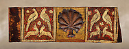 Gothic decorative painted beam panels with doves, hares and a carved syalise tree, Tempera on wood. National Museum of Catalan Art (MNAC), Barcelona, Spain .<br /> <br /> If you prefer you can also buy from our ALAMY PHOTO LIBRARY  Collection visit : https://www.alamy.com/portfolio/paul-williams-funkystock/gothic-art-antiquities.html  Type -     MANAC    - into the LOWER SEARCH WITHIN GALLERY box. Refine search by adding background colour, place, museum etc<br /> <br /> Visit our MEDIEVAL GOTHIC ART PHOTO COLLECTIONS for more   photos  to download or buy as prints https://funkystock.photoshelter.com/gallery-collection/Medieval-Gothic-Art-Antiquities-Historic-Sites-Pictures-Images-of/C0000gZ8POl_DCqE