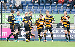 Alloa Athletic's Kevin Cawley cele scoring their goal.<br /> Half time : Falkirk 1 v 1 Alloa Athletic, Scottish Championship game played today at The Falkirk Stadium.<br /> © Michael Schofield.