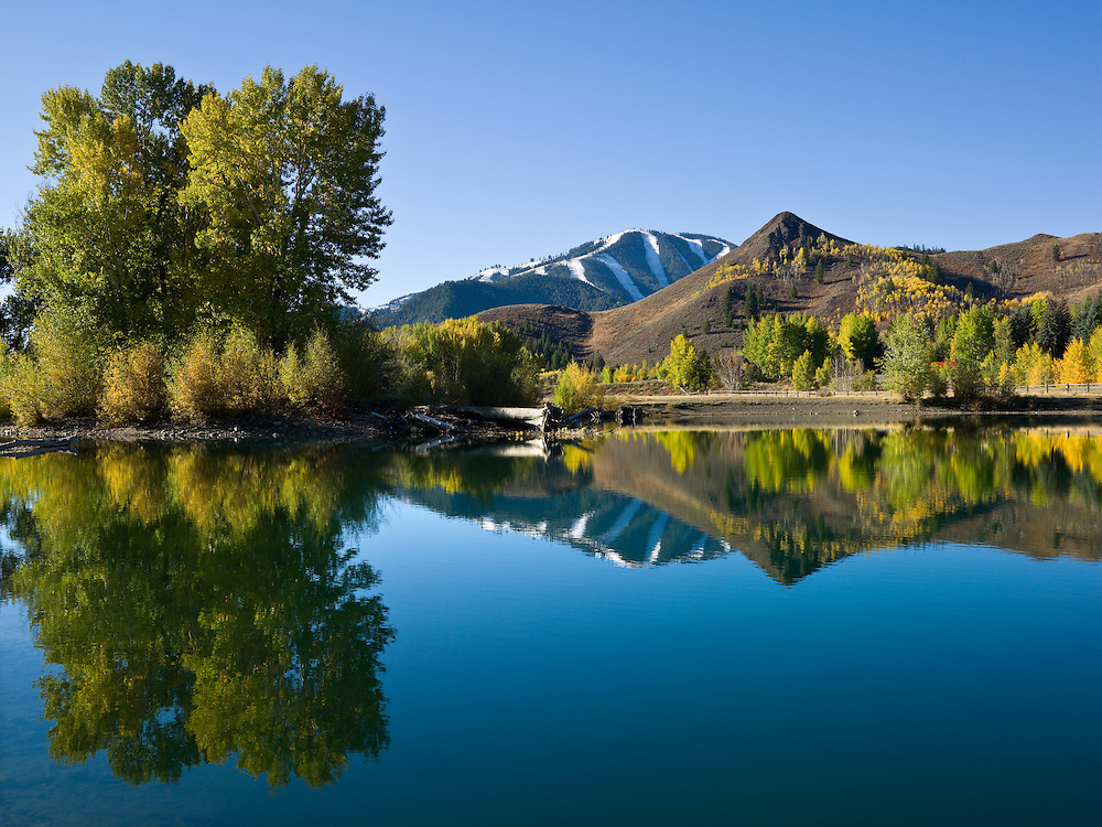 Still autumn morning north of Sun Valley-Ketchum Idaho with reflection in pond off Wood River in Central Idaho. Limited Edition Prints and Licensing