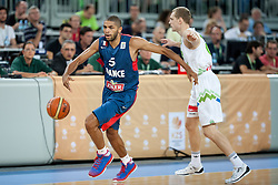 Nicolas Batum of France and Jaka Blazic of Slovenia during friendly match between National teams of Slovenia and France for Eurobasket 2013 on August 31, 2013 in Arena Stozice, Ljubljana, Slovenia. (Photo by Matic Klansek Velej / Sportida.com)