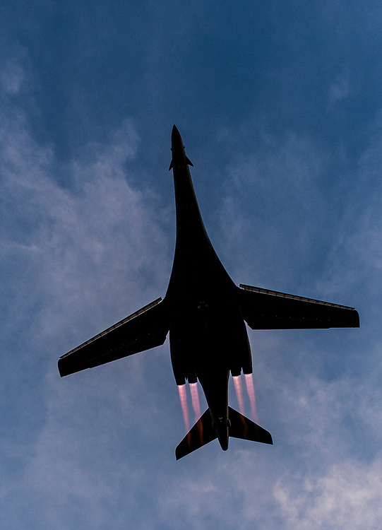 A B-1 Lancer from the 9th Expeditionary Bomb Squadron, takes off, Jan. 12, 2014 on Al Udied Air Base, Qatar. The multi-mission B-1 is the backbone of America's long-range bomber force. It can rapidly deliver massive quantities of precision and non-precision weapons against any adversary, anywhere in the world, at any time. (U.S. Air Force Photo by Staff Sgt. Perry Aston/Not Reviewed)