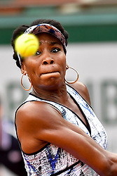 PARIS, June 3, 2017  Venus Williams of the U.S. returns the ball to Elise Mertens of Belgium during the women's singles 3rd round match at the French Open Tennis Tournament 2017 in Paris, France on June 2, 2017. Venus Williams won 2-0. (Credit Image: © Chen Yichen/Xinhua via ZUMA Wire)