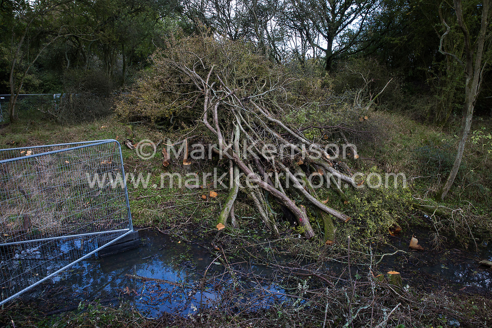 Trees at Calvert Jubilee nature reserve cleared by contractors working on behalf of HS2 Ltd are pictured on 6 October 2020 in Calvert, United Kingdom. HS2 Ltd seized possession of the eastern side of the nature reserve, which is maintained by the Berks, Bucks and Oxon Wildlife Trust (BBOWT) and is home to bittern, breeding tern and some of the UK's rarest butterflies, on 22nd September in order to carry out clearance works in connection with the HS2 high-speed rail link.