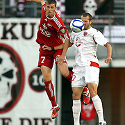 Orlando City Lions Defender Rob Valentino  (22) and Richmond Forward Matthew Delicate (7) during a United Soccer League Pro soccer match between the Richmond Kickers and the Orlando City Lions at the Florida Citrus Bowl on May 25, 2011 in Orlando, Florida.  (AP Photo/Alex Menendez)