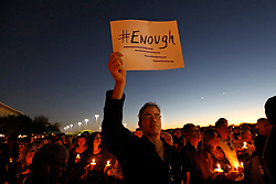 Mourners gather at a vigil for the victims of the mass shooting at Marjory Stoneman Douglas High School in Parkland, FL, USA, on Thursday, February 15, 2018. Photo by Carolyn Cole/Los Angeles Times/TNS/ABACAPRESS.COM