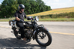 James Maloney riding his 1928 Indian Scout in the Motorcycle Cannonball coast to coast vintage run. Stage 7 (274 miles) from Cedar Rapids to Spirit Lake, IA. Friday September 14, 2018. Photography ©2018 Michael Lichter.