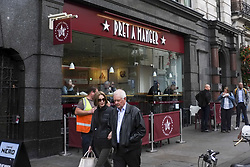 October 3, 2018 - London, England, United Kingdom - A Pret A Manger shop is pictured in Central London on October 3, 2018. Pret A Manger will list all ingredients, including allergens, on its freshly made products, following the death of a teenager who had an allergic reaction after eating a Pret sandwich at Heathrow Airport in 2016. (Credit Image: © Alberto Pezzali/NurPhoto/ZUMA Press)