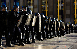 March 30, 2019 - Paris, France - Police make a wall during a regional demonstrations on the twentieth day of mobilization of the 'Yellow Vests' aka Gilets Jaunes in Paris. The rallies began as a fuel tax protest by French and now has turned to anti-government.(Credit Image: © Panoramic via ZUMA Press)