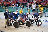 20160911 Copyright onEdition 2016©<br /> Free for editorial use image, please credit: onEdition<br /> <br /> Cyclist Onedition 11th Jon Butterworth Jody Cundy, Louis Rolfe (C1-5 - 750m Team Sprint Qualifying Trial - Men) competing for ParalympicsGB at the Rio Paralympic Games 2016.<br />  <br /> ParalympicsGB is the name for the Great Britain and Northern Ireland Paralympic Team that competes at the summer and winter Paralympic Games. The Team is selected and managed by the British Paralympic Association, in conjunction with the national governing bodies, and is made up of the best sportsmen and women who compete in the 22 summer and 4 winter sports on the Paralympic Programme.<br /> <br /> For additional Images please visit: http://www.w-w-i.com/paralympicsgb_2016/<br /> <br /> For more information please contact the press office via press@paralympics.org.uk or on +44 (0) 7717 587 055<br /> <br /> If you require a higher resolution image or you have any other onEdition photographic enquiries, please contact onEdition on 0845 900 2 900 or email info@onEdition.com<br /> This image is copyright onEdition 2016©.<br /> <br /> This image has been supplied by onEdition and must be credited onEdition. The author is asserting his full Moral rights in relation to the publication of this image. Rights for onward transmission of any image or file is not granted or implied. Changing or deleting Copyright information is illegal as specified in the Copyright, Design and Patents Act 1988. If you are in any way unsure of your right to publish this image please contact onEdition on 0845 900 2 900 or email info@onEdition.com