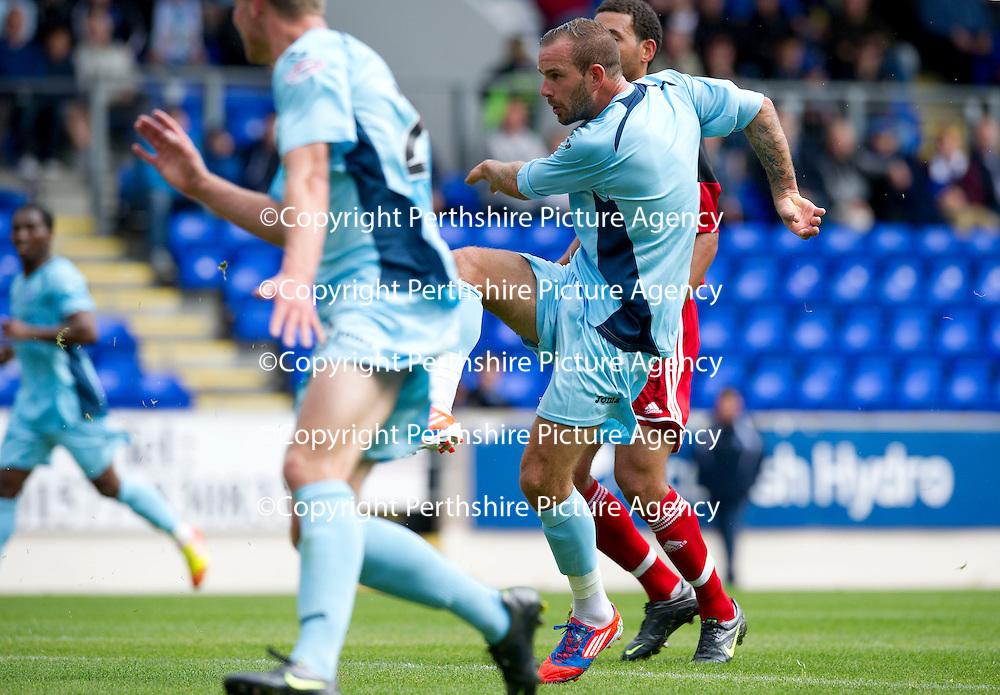 St Johnstone v Bristol City....28.07.12  Pre-Season Friendly<br /> Trialist Rowan Vine scores the second goal<br /> Picture by Graeme Hart.<br /> Copyright Perthshire Picture Agency<br /> Tel: 01738 623350  Mobile: 07990 594431