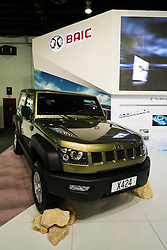 Chinese BAIC cars on display at the Dubai Motor Show 2013 United Arab Emirates