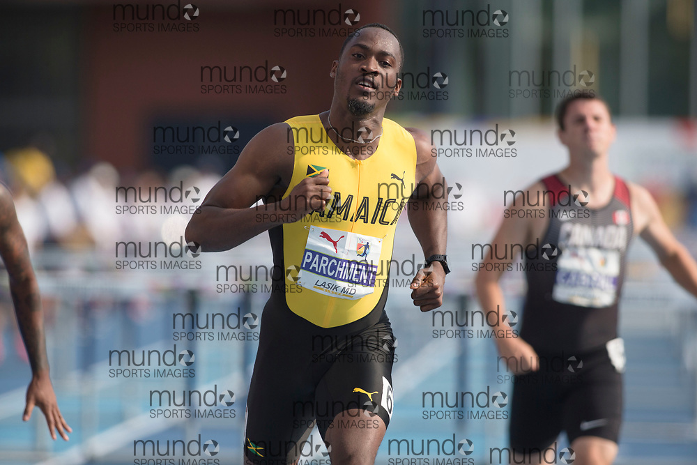 Toronto, ON -- 11 August 2018: Hansle Parchment (Jamaica), 110m hurdle final at the 2018 North America, Central America, and Caribbean Athletics Association (NACAC) Track and Field Championships held at Varsity Stadium, Toronto, Canada. (Photo by Sean Burges / Mundo Sport Images).
