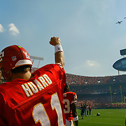 Kansas City Chiefs quarterback Damon Huard pumped his fist at the Whiteman Air Force pilots flying over Arrowhead Stadium in A-10 Thunderbolt planes prior to the contest against the Minnesota Vikings on September 23, 2007, at the Chiefs home opener at Arrowhead Stadium. The Chiefs won 13-10 for their first victory of the season.