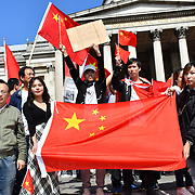 """Hundreds of Pro-China and Pro-HK united """"We love China - We Love HK"""" to supports HK police assembly in London Chinatown march to Trafalgar Square anti-violence and restore peace in HK, singing China national anthem along the way and all the criminal must be punished by the rule of law. In fact, Since the HK protests and the western propaganda media backfire each day China growing supporters from all world and oversea born Chineseand your self consciousness. If we a report all they do is propagandist. How can we live with ourself? Do you have children? a nation you loves? million upon million lifes killed and murder and the entire nation destroyed. As a reporter must be honest and trueful  on 18 August 2019, London, UK."""