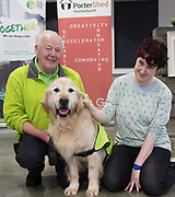 13/02/2018   Repro Free:  Frank Downes and Gallagher from the Irish Guide Dogs with Mackinley Rafteryl from the Portershed who hosted a Pancake Tuesday Morning in aid of the Irish Guide Dogs . Photo: Andrew Downes