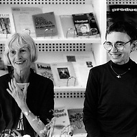 Claire Malroux (b. 1925), French poet, essayist and translator, with Marilyn Hacker (b. 1942), American poet, translator, academic and critic, photographed at the Scottish Poetry Library in Edinburgh, August 15, 2001.