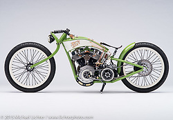 Splinter, a green 2014 custom board track built by Jon MacDowell of Bonneville Customs in Meridan, Idaho. Photographed by Michael Lichter at the Sacramento Easyriders Show on January 17, 2015. ©2015 Michael Lichter.