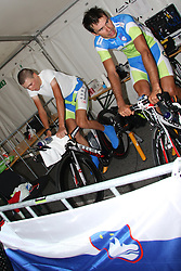 Jani Brajkovic and Robert Vrecer of Slovenia during the Elite Men's Time Trial on day three of the UCI Road World Championships on September 21, 2011 in Copenhagen, Denmark. (Photo by Marjan Kelner / Sportida Photo Agency)