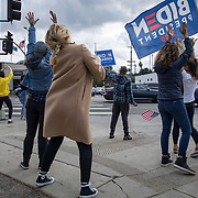 Celebrations erupted across Los Angeles and the nation after the announcement on November 7, 2020 that Joe Biden would be the 46th President of the United States.