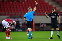 PIRAEUS, GREECE - FEBRUARY 25: Adel Taarabt of SL Benfica is shown a yellow card during the UEFA Europa League Round of 32 match between Arsenal FC and SL Benfica at Karaiskakis Stadium on February 25, 2021 in Piraeus, Greece. (Photo by MB Media)