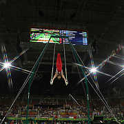 Gymnastics - Olympics: Day 3   Christopher Brooks #192 of  the United States performing his Still Rings routine during the Artistic Gymnastics Men's Team Final at the Rio Olympic Arena on August 8, 2016 in Rio de Janeiro, Brazil. (Photo by Tim Clayton/Corbis via Getty Images)<br /> <br /> (Note to editors: A special effects starburst filter was used in the creation of this image)