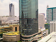 22 APRIL 2013 - BANGKOK, THAILAND:  The skyline of Bangkok looking west from the penthouse floor of the Maneeya Center.   PHOTO BY JACK KURTZ