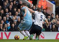 Football - 2016 / 2017 Premier League - Tottenham Hotspur vs. Stoke City<br /> <br /> Jan Vertonghen of Tottenham drags Marko Arnautovic of Stoke City to the ground at White Hart Lane.<br /> <br /> COLORSPORT/DANIEL BEARHAM