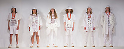 © Licensed to London News Pictures. 31/05/2015. London, UK. Collection by Samuel Olawuyi. Fashion show of the University of East London (UEL) at Graduate Fashion Week 2015. Graduate Fashion Week takes place from 30 May to 2 June 2015 at the Old Truman Brewery, Brick Lane. Photo credit : Bettina Strenske/LNP