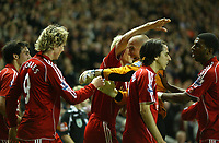 Photo: Paul Greenwood/Sportsbeat Images.<br />Liverpool v Fulham. The FA Barclays Premiership. 10/11/2007.<br />Liverpool's Jose Reina runs the end of the pitch to celebrate with goalscorer Fernando Torres