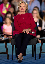 Oct. 04, 2016 - Haverford, Pennsylvania, U.S. -  HILLARY CLINTON sits down in a chair during a conversation with Delaware County families at the Haverford Community Recreation & Community Center.(Credit Image: © Brian Cahn via ZUMA Wire)