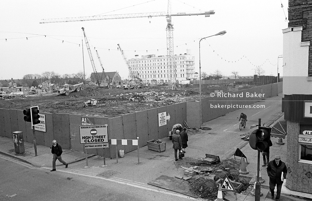 Clearing old buildings, redevelopment on Southend-on-sea's High Street which will eventually become The Glades shopping centre.