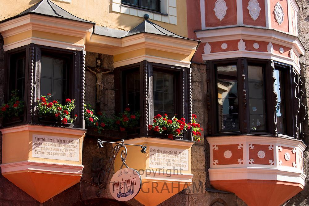 Traditional Tyrolean ornate architecture in Herzog Friedrich Strasse in Innsbruck in the Tyrol, Austria