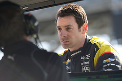 April 30, 2018 - Indianapolis, IN, U.S. - INDIANAPOLIS, IN - APRIL 30: Simon Pagenaud speaking with his crew during an Open Test on April 30, 2018, at the Indianapolis Motor Speedway in Indianapolis, IN. (Photo by James Black/Icon Sportswire) (Credit Image: © James Black/Icon SMI via ZUMA Press)