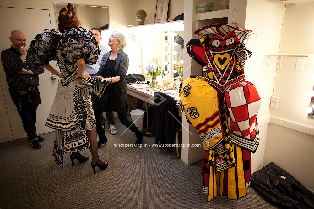 Karen Mason, who plays the Queen of Hearts in Alice and Wonderland on Broadway, during a costume fitting with designer Susan Hilferty and costumer Eric Winterling...Photo by Robert Caplin.