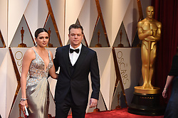 Luciana Barroso (L) and actor Matt Damon arrive for the 89th Academy Awards (Oscars) ceremony at the Dolby Theater in Los Angeles, CA, USA, February 26, 2017. Photo by Lionel Hahn/ABACAPRESS.COM