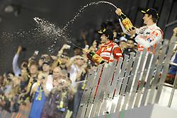 13.11.2011, Yas-Marina-Circuit, Abu Dhabi, UAE, Grosser Preis von Abu Dhabi, im Bild Podium - Fernando Alonso (ESP), Scuderia Ferrari - Jenson Button (GBR),  McLaren F1 Team  // during the Formula One Championships 2011 Large price of Abu Dhabi held at the Yas-Marina-Circuit, 2011/11/12. EXPA Pictures © 2011, PhotoCredit: EXPA/ nph/ Dieter Mathis..***** ATTENTION - OUT OF GER, CRO *****