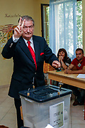 Albanian Prime Minister and leader of the Democratic Party casts his ballot at a polling station in Tirana, Albania on Sunday, Jun 28, 2009. Albanians are voting to elect the 140 members of the Albanian Parliament. The EU will closely watch the entire elections process, they said, stressing that 'international and European standards' must be met by Albania, which formally applied for EU membership in april, but has not moved forward since. (Photo by Vudi Xhymshiti)