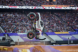 December 16, 2017 - Sao Paulo, Sao Paulo, Brazil - Monster Mutt is  upright during a round of racing. Monster Jam was held at Corinthians Stadium, in Sao Paulo, Brazil. (Credit Image: © Paulo Lopes via ZUMA Wire)